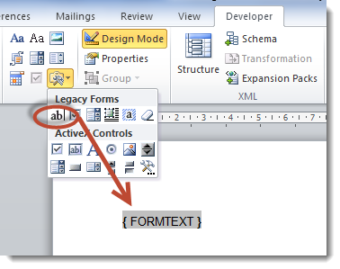 Adding form fields to a ms word document smartwiki word 2010 ccuart Gallery
